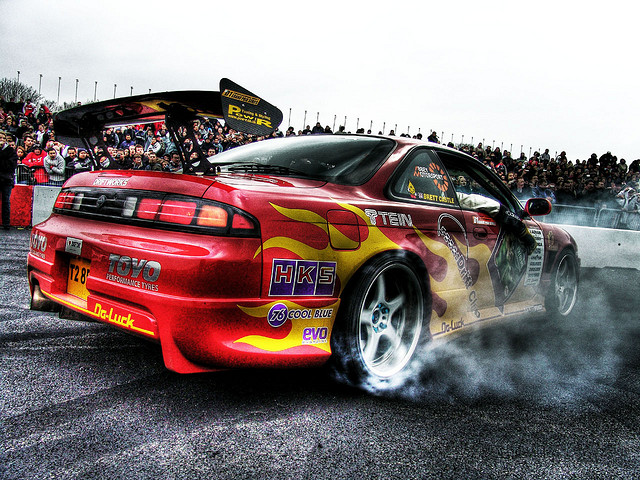 car doing burnout
