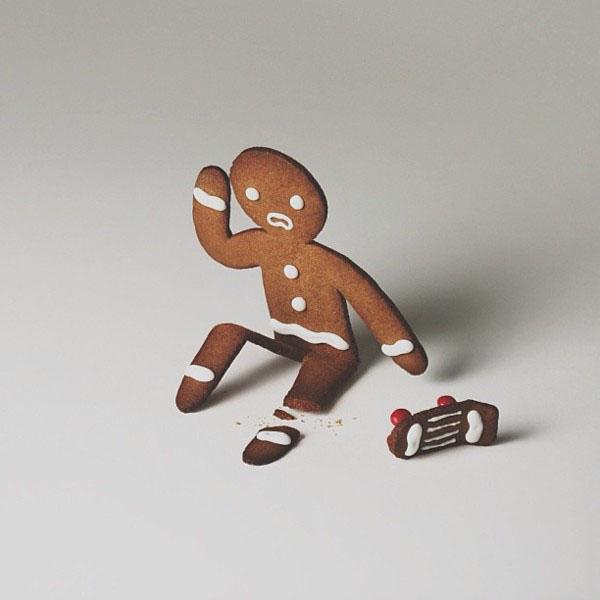 Gingerbread Man Skateboard Fail